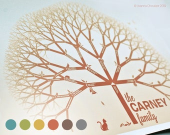 """A2/22x17"""" custom family tree print personalised unique beautiful wall art wedding family event gift ancestry, 6 earth tone options"""