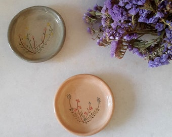 Handmade ceramic small 2 plates set for tea cup or coffee cup