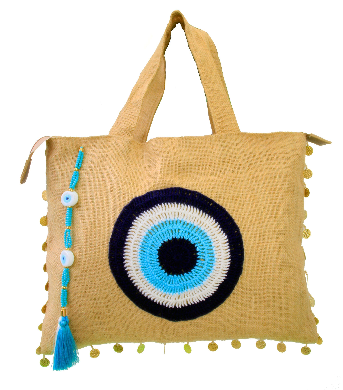 Evil Eye Jute//Burlap Clutch Bag Beach Bag Zipper Gift Bag with Crystals/&Tassel