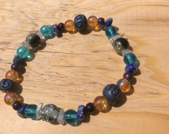 Sodalite and Clear Quartz Anklet