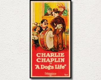 A Dog's Life Handmade WOOD PRINT, Fanart cinema film poster for Charlie Chaplin (Charlot) fans, Comedy WOOD film poster. Large canvas art