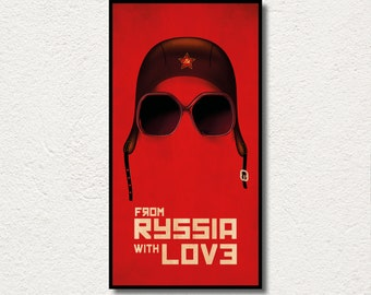 """AMAZING piece of art PRINTED on WOOD, """"From Rusia with Love"""" large wood wall art, Extra large canvas. Awesome exclusive gift for art lovers."""