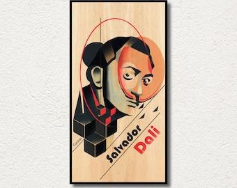 Salvador Dali poster PRINTED on WOOD, Extra large canvas Salvador Dali wood print portrait art, AWESOME fanart large gift art.