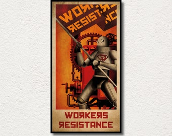 """AMAZING piece of art PRINTED on WOOD, """"Workers Resistance"""" large wood wall art, Extra Large Canvas, Awesome exclusive gift for art lovers."""