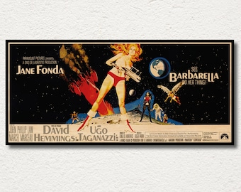 Barbarella WOODEN wall art poster, Handmade special edition movie poster, Unique gift for Jane Fonda fans, Unique posters and prints gift
