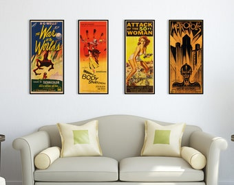 Sci-fi Classics Poster Collection, WOODEN wall art set, Cool & Unique gift for any Sci-fi fan, Awesome wall decor gift idea for movie fans.