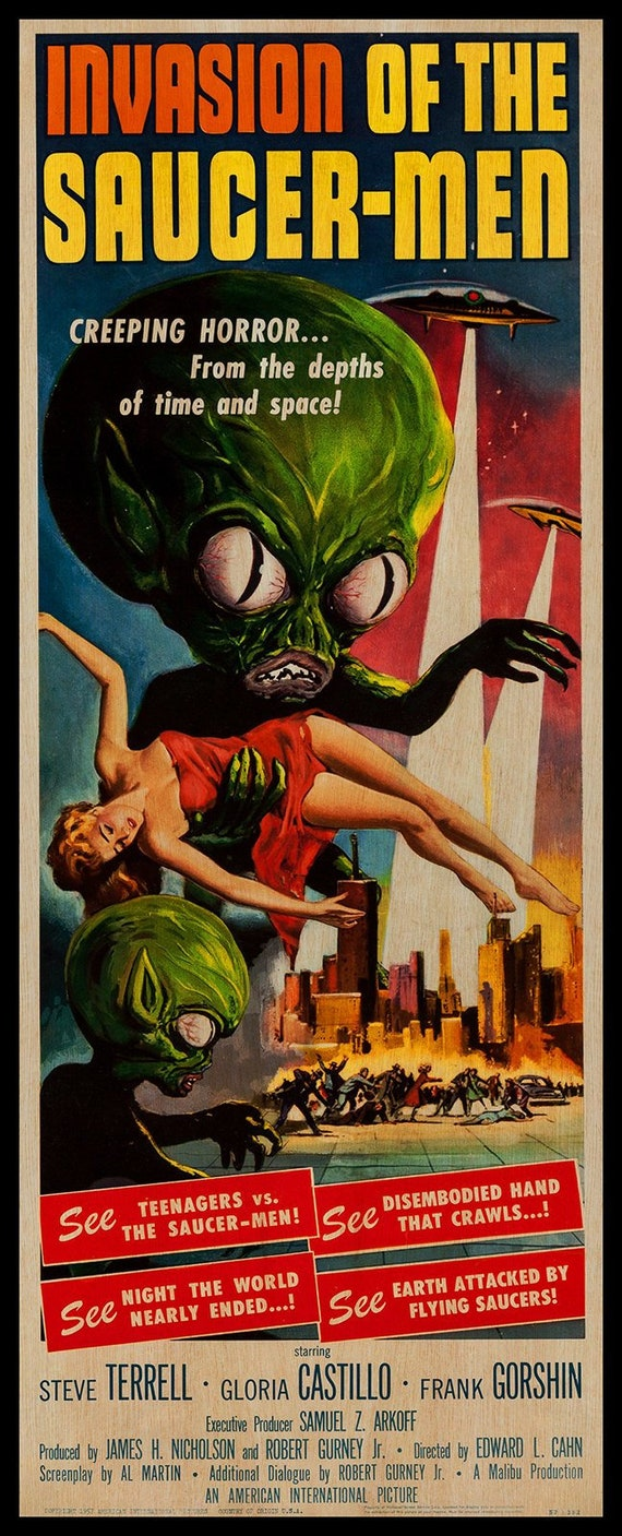VINTAGE INVASION OF THE SAUCER MEN MOVIE POSTER A3 PRINT