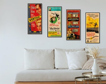 Hitchcock Poster Collection, WOODEN wall art set, Cool & Unique gift for hitchcock fans, Perfect extra large wall decor Hitchcock fan gift.