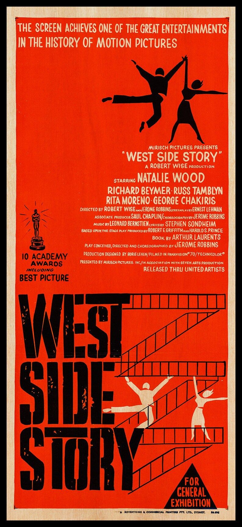 West Side Story WOOD PRINT Poster  Fanart Cinema Movie Posters on WOOD for  this movie lover  Extra large Wall Art Prints and Canvas Art
