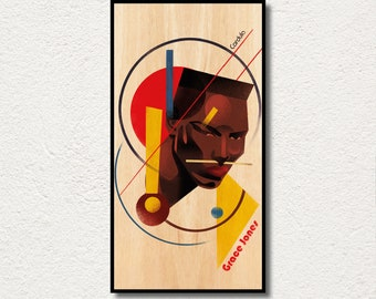 Grace Jones poster PRINTED on WOOD, Extra large canvas Grace Jones portrait print Art, AWESOME fanart cinema gift of this famous actress,