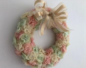 Custom made fabric flower wreath