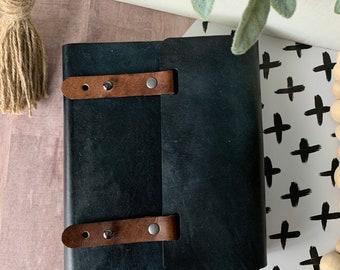 Custom slate grey leather KJV, ESV, or NIV Bible