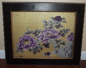 Vintage Hand Embroidered Floral Tapestry By Japanese Artist Ito Brunell Framed Art 20 X 24