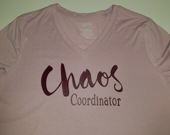 Chaos Coordinator v-neck pink and burgandy LG 12/14