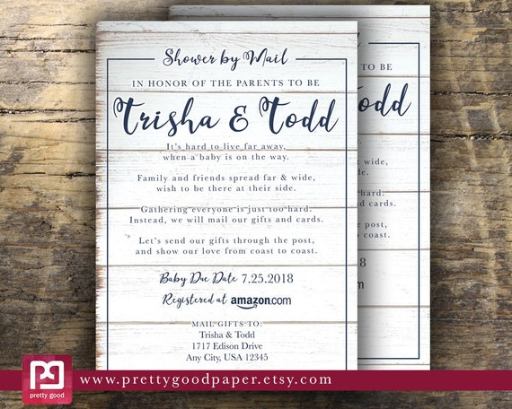 Baby Shower By Mail, Long Distance, Rustic Shiplap Baby Shower Invitation; Printable