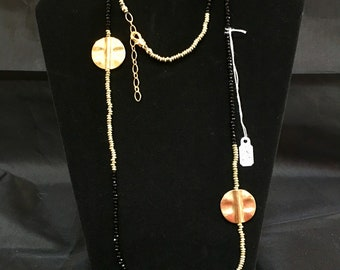 Black Spinel and Gold Plated Silver Beaded Necklace
