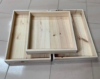 THREE Plain Wooden Trays (no handles) (Sizes Vary - See Description below)