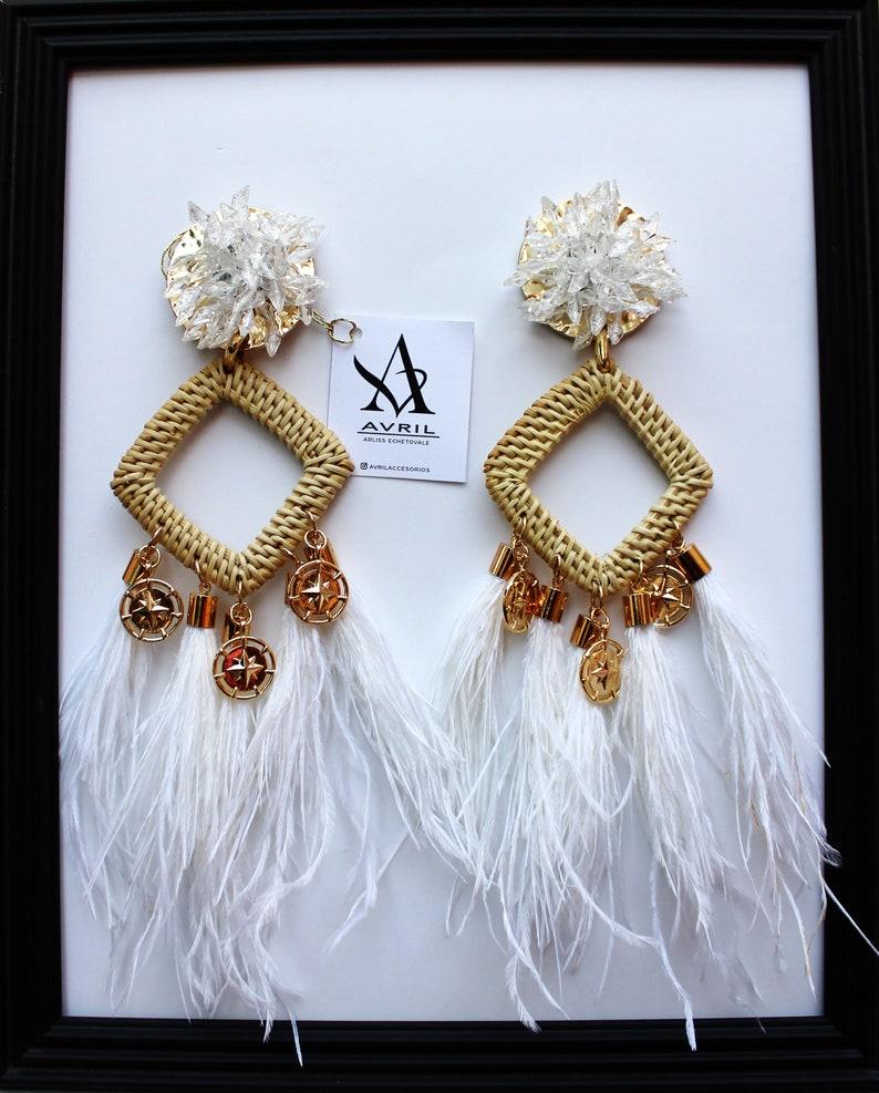 White feathers earrings,Bamboo earrings,Statement earrings,White Earrings,Summer 2019,Wedding Earrings,Bridal Shower Earrings,Bachelorette