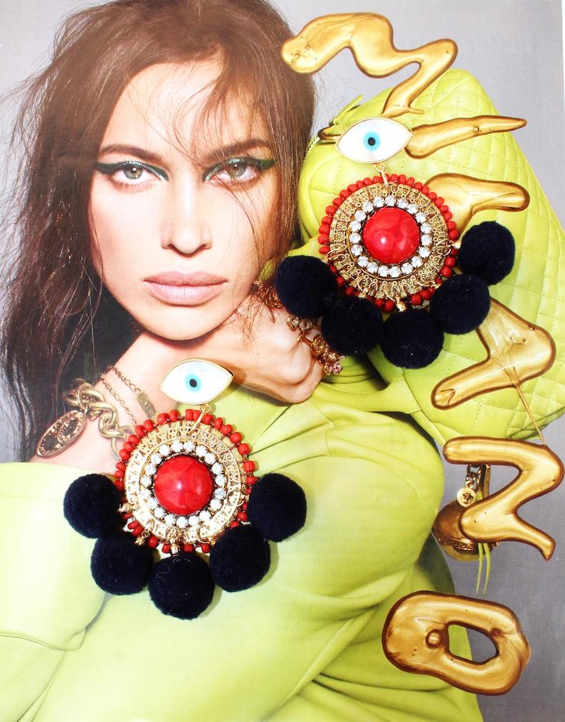 NEW!!Evil eye Earrings,Turkish Eyes,Bold Jewelry,Glamorous Earrings,Navy Pompoms,Orange earrings,Mother of pearl evil eye,Statement earrings