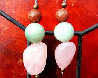 Jade, Rose Quartz & Goldstone Earrings