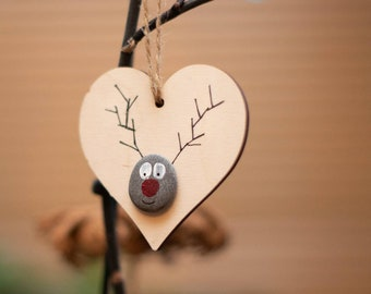 Reindeer Christmas Tree Decoration, Tree Hanging, Rudolph The Red Nose Reindeer, Heart, Little Gift Idea, Holiday Decor, Xmas Ornament