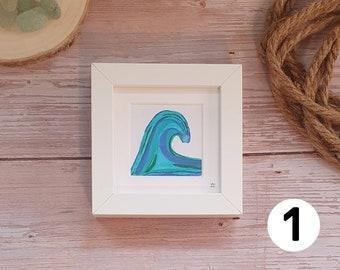 Cornish Waves, Sea Blues, Watercolours, Ocean, Seaside Mini Frames, Surfing Waves