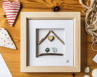 Two Birds Under One Roof, Love Birds, Sea Glass Art, Driftwood House, New Home, Home Is Where The Heart Is, Bird Lover, Made In Cornwall