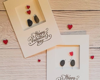 Happy Valentines Day, Greeting Card, Pebble Bird Couple, Single Rose For You, Love Heart, Forever And Always, February 14th,Made in Cornwall