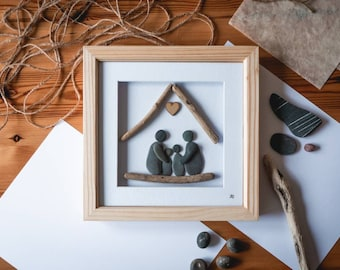 Pebble Art Family Frame, Pebble People, Beach Stone Art, Pets, Scrabble Letters, Gift Idea, All Occasions, Cornish Gift, Made in Cornwall