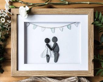 Cornish gift idea, Seaglass Bunting Art, Wedding Congrats for a Couple, Pebble Art, Hand Picked & Handmade By A Cornish Girl