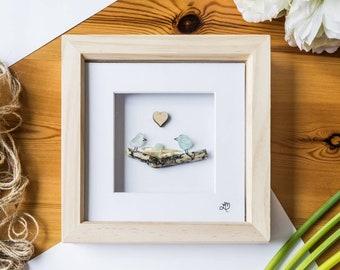 Baby bird, Baby Shower, New Parents, Baby Gift Idea, Christening, Sea Glass Art, Birds Nest, Cornish Gift, Hand Made, Made In Cornwall