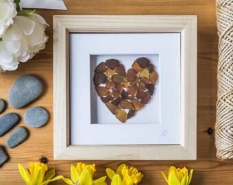 Sea Glass Art, Love Heart, Framed Art, Orange/Brown, Made in Cornwall, Unique Gift, Occassion, Anniversary, Wedding, Birthday, Home Decor