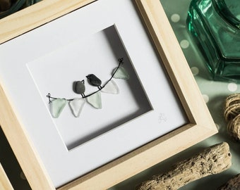 Bunting Birds, Sea Glass, Happiest when I'm with you, Pebble Art, Love Birds, Couple, Happy Birthday, Anniversary, Wedding Gift, Handmade