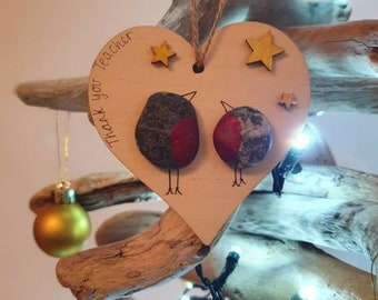 Thank you Teacher at Christmas, Special Handmade Gift, Pebble Art Festive Robins, Tree Decoration, Keepsake Present