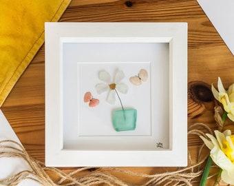 Sea Glass Flower, Flower, Butterfly Shells, Cornish Gift Idea, Gardening Gift, Summer Flower, Cornish Sea Glass, Handmade, Made in Cornwall