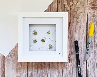 Busy Bumble Bee, Bee Lover Gift, Manchester Bee Gift, The Hive, Queen Bee, Manc Worker Bee, Buzz Buzz, White Seaglass, Cornish Handmade