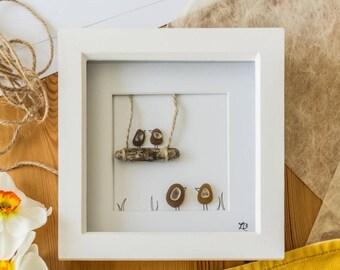 Sea Glass Bird Family, Driftwood Tree Swing, Mothers Day Gift, Cornish Gift Idea, Beach Picture, Bird Family Design, Handmade in Cornwall