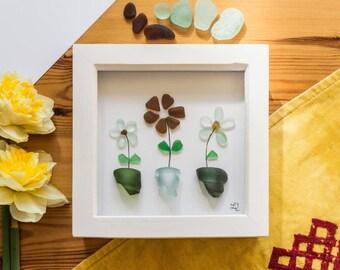 Flower pots, Sea Glass Art, Bottle Tops, Gardening Gift, Nannies Flowers, Trio of Flower Pots, Cornish Gift, All Occasions, Handmade Art
