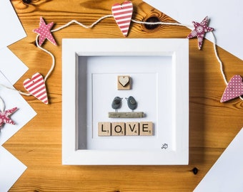 Love birds, Pebble art birds, Heart, Scrabble letters, Handmade, Made in Cornwall, Cornish gift, Special couple, New home, Anniversary