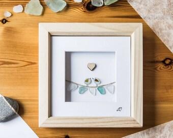 Sea Glass Bunting Birds, Made in Cornwall, Seaglass Art, Cornish gift, Handpicked Seaglass, Wedding Gift, Birthday, Anniversary, Thoughtful