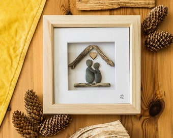 Pebble Art Couple, Cornish Pebbles, Driftwood Art, Love, Anniversary, New Home, Wedding, Cornish Gift Idea, Handmade, Made In Cornwall