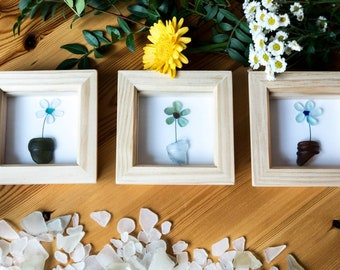Three Potted Plants, Set of three, Flowers, Bottle Tops, Sea Glass, Gardening Gift, Mothers Day, Valentine's Day, Cornish Gift Idea,Handmade