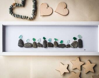 Beach Birds, Sea Glass Birds, Flock of Birds, Blue Sea glass, Pebble Art, Panoramic Frame, Cornish Sea Glass, Cornish Gift, Handmade, Unique