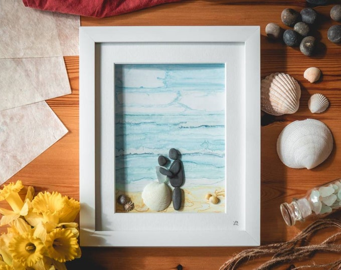 Cornish Wedding, Beach Themed Gift, Bride and Groom, Abroad Sea Views, Cornish Sea Glass and Pebbles, Tieing The Knot, Watercolour Seaside