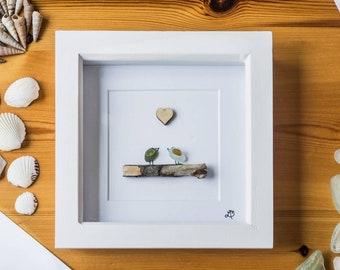 Two Love Birds, Sea Glass Birds, Driftwood, Small birds, Couple Gift, New Home, Anniversary, Valentine's, Occasions, Bird Lover, Cornish Gif