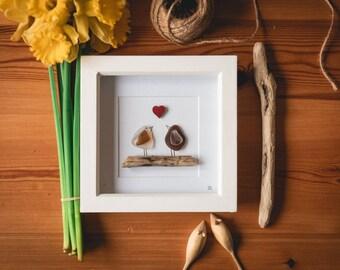 Two Love Birds, Sea Glass Birds, Driftwood, Big birds, Couple Gift, New Home, Anniversary, Valentine's, Occasions, Bird Lover, Cornish Gift