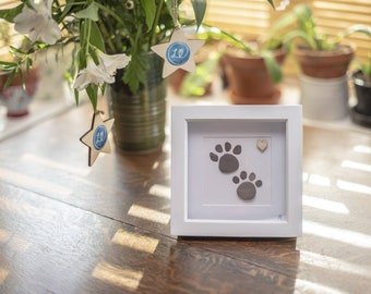 Paw Print Pebble Art, Dog and Cat Lovers, Furry Friend Gift Idea, Doggy Beach Art, Mans Best Friend, They Leave Paw Prints On Your Heart