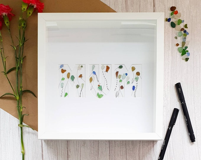 Mum, Mothers Day Frame, Summer Garden, Sea Glass Flowers, In Bloom, Colourful Cornish Seaglass, Handmade In Cornwall, Love You Mum