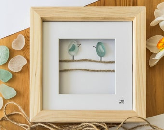 Sea Glass Picture, Bird Art, Sea Glass Birds, Pebble Pictures, Hessian String, Telephone Wire Birds, Cornish Sea Glass, Made in Cornwall