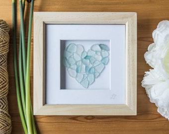 Sea Glass Art, Love Heart, Framed Art, Sea Foam Blues, Made in Cornwall, Unique Gift, Occassion, Anniversary, Wedding, Birthday, Home Decor